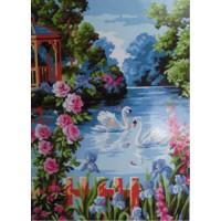 Лебеди на пруду (40х50)