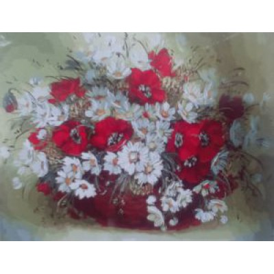 Ромашки с маками (50х40)