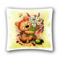 """Наволочка """"Баловни Медвежонок с цветами"""" (45х45)"""