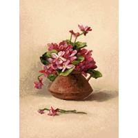 Букет (бордовые цветы) 25х17 о/б