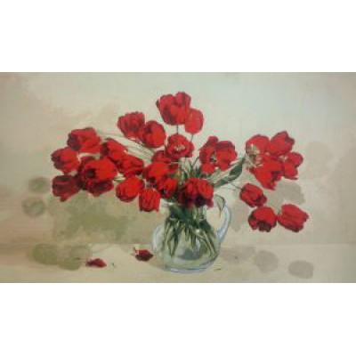 Алые тюльпаны (115х70) о/б