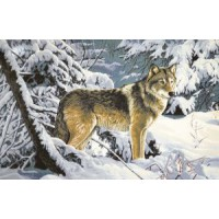Волк в лесу (108х70) о/б