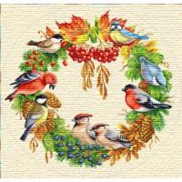 "Салфетка ""Счастливое Рождество (птички)"" (70 см.)"