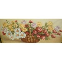 Цветы в корзине (122х50) о/б