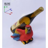 Подставка для бутылки, попугай и бутылка.