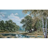Пейзаж с лебедями (48х35) о/б