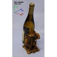 Подставка для бутылки, слон коричневый с позолотой.