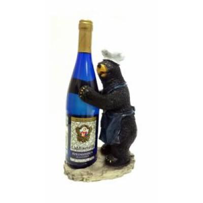 Подставка для бутылки, медведь в синем фартуке